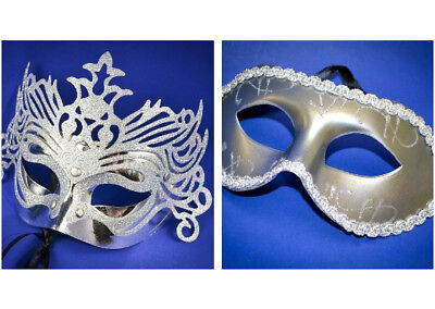 Lot of 12 Mixed Wholesale Silver Theme Mardi Gras Masquerade Costume Mask Party (Mardi Gras Party Theme)
