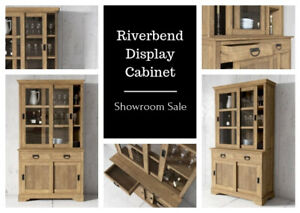 "Reclaimed Teak 45"" Riverbend Display Cabinet on Display"