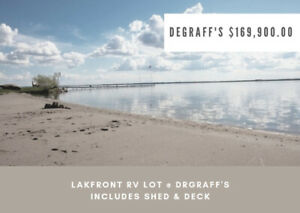 GULL LAKE DEGRAFF'S LAKEFRONT RV LOT w/ SHED & DECK $169K!