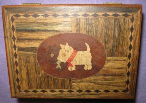 1930s Scottie Dog Inlaid Wood Trinket Box souvenir of Temple Texas made in Japan