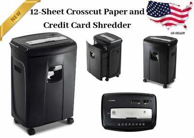 Cross Cut Paper Credit Card Shredder 12 Sheet Pullout Basket Aurora Home Office