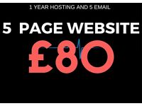 5 PAGE WEB DESIGN ONLY £80 INC 1YR WEB HOSTING AND 5 EMAIL ADDRESS