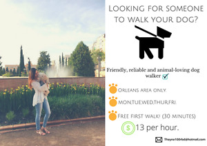 Dog walker. Friendly, reliable and animal-lovingg.