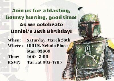 Star Wars Boba Fett Print-at-home digital JPEG/PDF Birthday Invitations (Boba Fett Birthday)