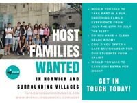 SHORT-TERM HOST FAMILIES WANTED THIS SUMMER IN NORWICH