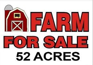 52 ACRE FARM FOR SALE! ALL WORKABLE LAND, PRODUCTIVE SOIL