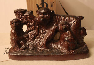 Antique Chinese zodiac, Monkey statue with glaze made in Japan
