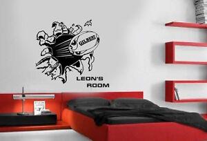 Personalised Blasting Rugby Ball Wall Art Stickers,Mural,Vinyl,