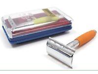 An I screw open safety razor