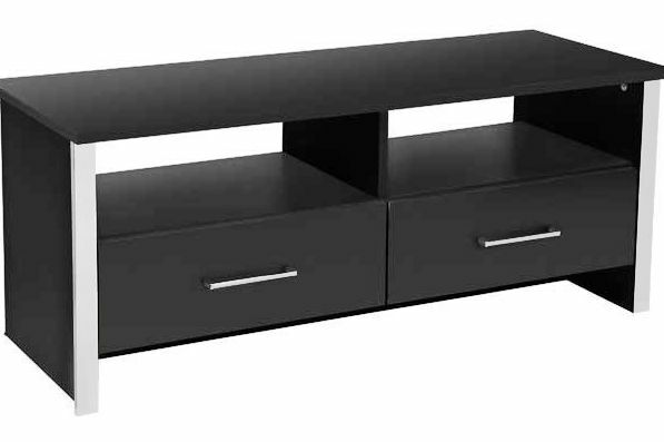 Genova Modern Tv Stand Entertainment Unit Black Chrome In