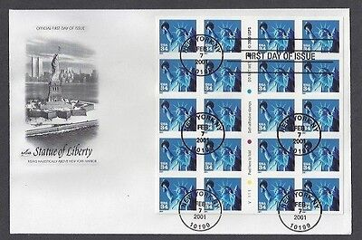 3485 FIRST DAY COVER, STATUE OF LIBERTY, BOOKLET OF 20