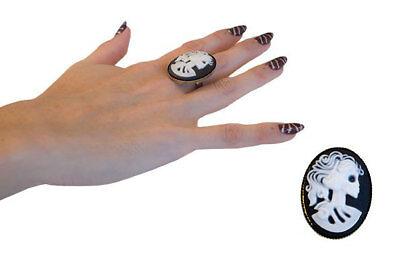 Der Ring Halloween (Halloween Schmuck Ring Gothic Horror La Catrina Totenkopf Tag der Toten Schmuck)