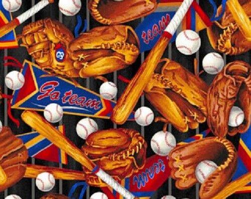 Go Team Baseball Equipment Supplies 100% cotton Fabric by the 1/4 yard