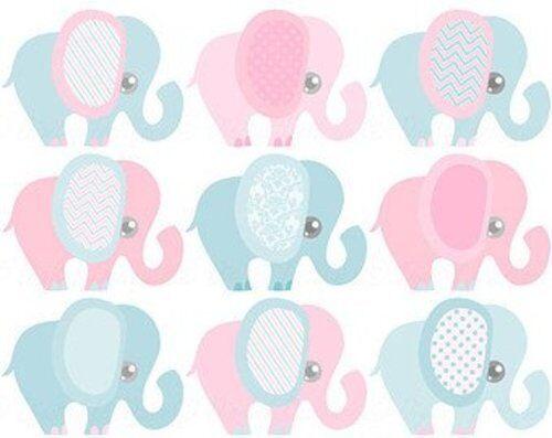 1/4 Sheet - Gender Reveal Baby Shower Elephants - Edible Icing Image