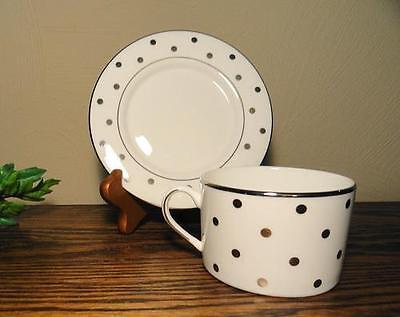 LENOX KATE SPADE New York Larabee Road Platinum Dots Tea CUP and SAUCER Set New