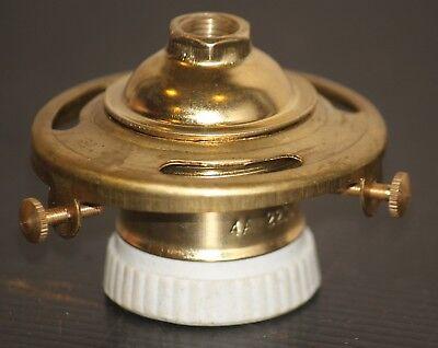 """Shade Holder Light Bulb Socket vintage Brass Porcelain 2 1/4"""" fitter lamp Edison"""