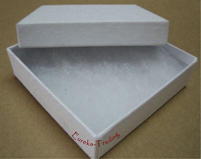 "Jewelry Boxes 100 Swirl White Cotton Filled Gift 3 1/2"" X 3 1/2"" x 1"" Bracelet"