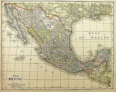 1902  MEXICO Antique color  map original authentic