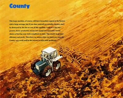 Ford County Tractor 1454 Painting In The Field Sales Brochureposter Advert A3