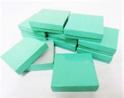 Teal Blue Color (Cotton Filled Teal Blue Color Cardboard Paper Jewelry Boxes 3.5