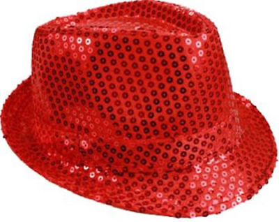 Unisex Fedora Hat RED Sequin Shiny Sparkle Cap Costume Prom Dance Party + GIFT - Sequin Fedora