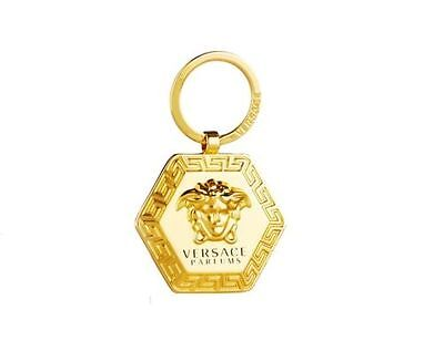 Versace Parfums Logo Gold Key Chain New