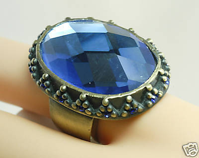 HUGE Cobalt GLASS Checked BAROQUE RS Cocktail Ring 5.5
