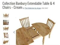 Extendable Table and 4 Chairs - like new