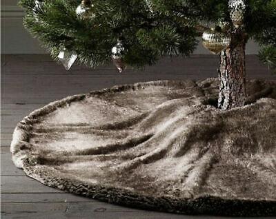 "Retired Restoration Hardware Luxe Faux Mink Fur Christmas Tree Skirt  58"""