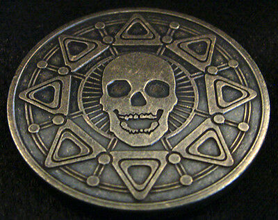 PIRATE BOOTY - Brass 39mm Antiqued Skull and Compass Medals - Lost Treasure Coin