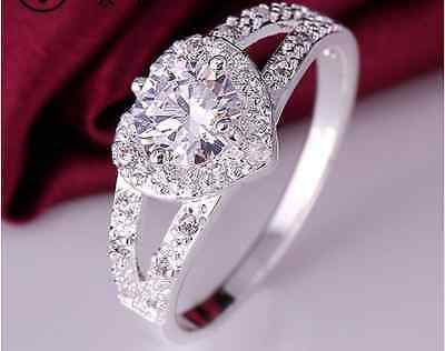 D/VVS1 Diamond Engagement Ring 2 Carat Round Cut 14k White Gold Heart Jewelry