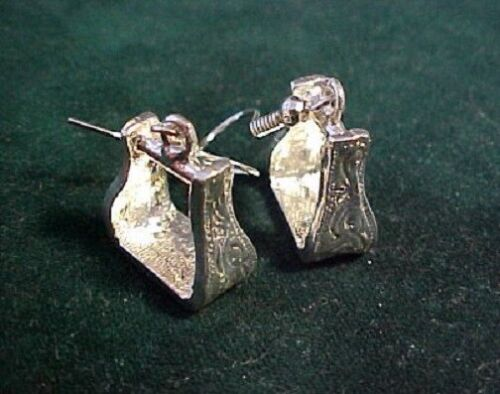 Western Cowboy saddle Stirrup Sterling silver plated dangle earrings