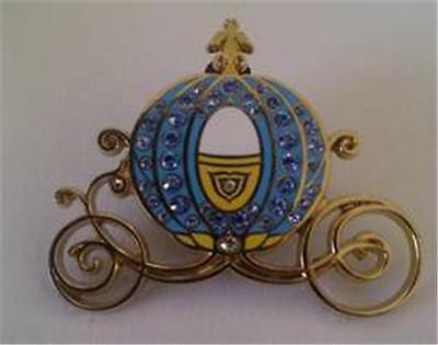 CINDERELLA Carriage COACH BLUE JEWELS Jeweled RHINESTONE FANCY Disney Pin