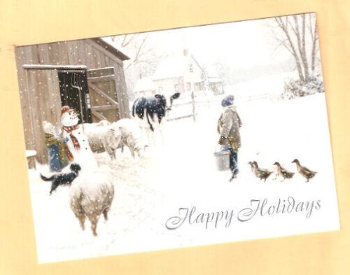 Border Collie Sheep Cow Geese Snowman Snow Christmas Cards Box of 18 USA*