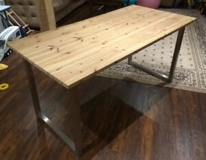 Rustic solid wood dining table 5' long
