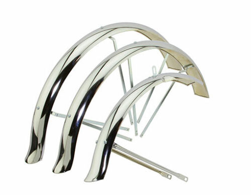 """26"""" FLARED DUCKTAIL HOLLOW TRIKE TRICYCLE CONVERSION KIT FENDER SET CHROME"""