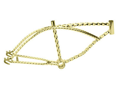 "New 20"" Beach Cruiser Bike Bicycle Lowrider Chopper Twisted Frame Gold for sale  Shipping to Canada"