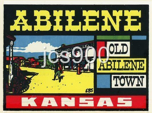 "VINTAGE ""OLD ABILENE TOWN"" COWBOY KANSAS STATE SOUVENIR TRAVEL WATER DECAL 1950s"