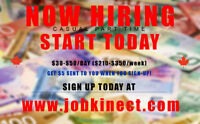 $30-$50/Day Part Time Work Available - Immediate Start