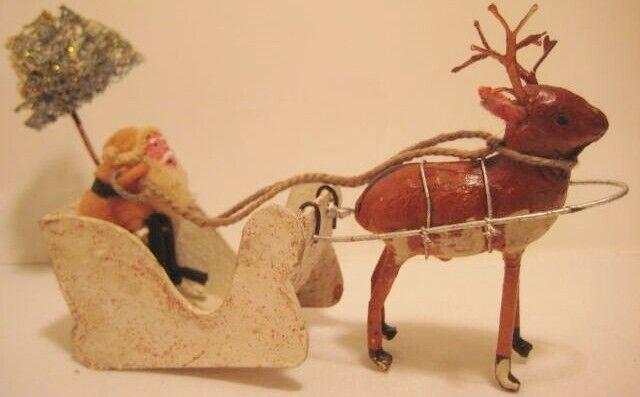 Old German Christmas Santa in Sleigh w/ Pressed Cotton Reindeer & Moss Tree
