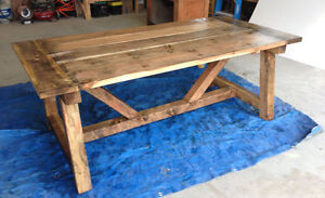 Rustic Solid Wood 4x4 Farmhouse Style Dining Table