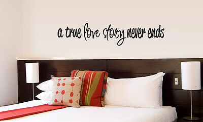A True Love Story Never Ends vinyl wall lettering quote decor/decal cute - A True Love Story Never Ends
