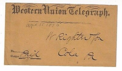 1870 Western Union Telegraph Co With Eagle Pa Telegram Enclosed
