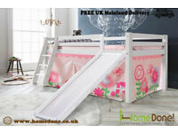 KID'S MID SLEEPER BUNK BED WITH TENT AND SLIDE ZWF