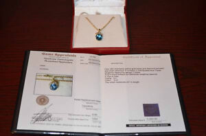 Ladies 14kt Topaz and Diamond Pendant and Chain