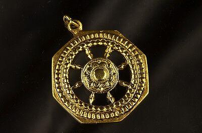 Whitemetal Buddhist Pendant Top ; HORIN (DHARMA CAKRA)