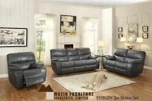 Contemporary Grey Recliner Set with Motion Upholstery MA10 9108GRY-1 (BD-1371)