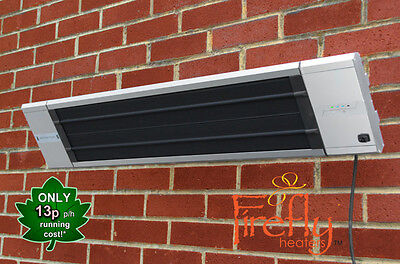 Firefly 1.8kW Patio Heater Black Heat Remote Control Outdoor Garden Wall Mounted