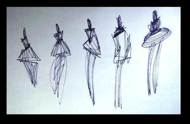 C Peterson ORIGINAL ART ink pen DRAWING = Haute Couture = Impressionist figures