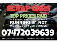 Scrap cars/vans/bikes wanted same day collection BEST PRICE PAID!